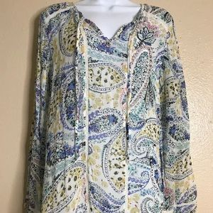 Lucky Brand Women Size M Sheer Floral Top